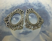 Silver Ox Plated 13x18mm Open Filigree Frames 646SOX x2