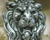 Sterling Silver Ox Plated  Roaring Lion Head Stampings 160SOX x2