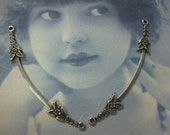 Silver Ox Plated Delicate Floral Necklace Connectors 780 SOX x2