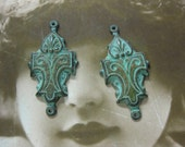 Verdigris Patina Ornate Brass Jewelry  Connectors 38VER x2