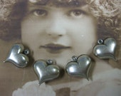 Sterling Silver Ox Plated Puffy Brass Heart Charms 427SOX x4