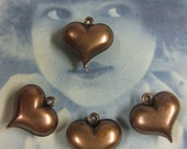 Copper Ox Plated Puffy Brass Heart Charms 427COP x4