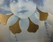 Brass Ox Plated Small Ginkgo Leaf Drops 847BOX x4