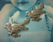Sterling Silver Ox Plated Sweet Bird On A Branch Brass Charms 661SOX x2