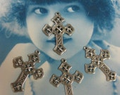 Silver Ox Plated Filigree Cross Pendants Charms 518SOX x4