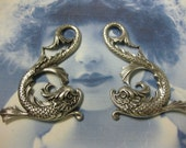 Silver Ox Plated Mythical Koi Dragon Fish Stampings 819SOX x2