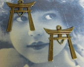 Brass Ox Plated  Japanese Torii Gate Pendants 965BOX x2