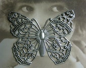 Silver Ox Plated Filigree Butterfly Stamping Pendant 921SOX x1
