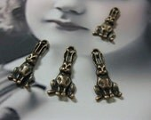 Clearance Closeout Sale Copper Ox Plated Bunny Rabbit Hare Charms 1091COP x4