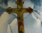 Gorgeous Very Large Solid Brass Cross Verdigris Patina 519VER x1