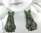 Verdigris Patina Brass Bunny Rabbit Charms   960VER x2