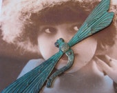 Large Verdigris Patina Dragonfly Stamping 652VER x1