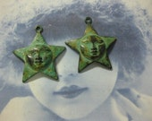Verdigris Patina Star with a Moon Face Charms 127VER x2