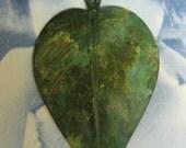 Large Verdigris Patina Leaf Pendant 1023VER x1