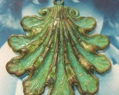 Verdigris Patina Large Brass Shell Pendant 124VER x1