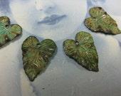 Verdigris Patina Brass Ivy Leaf Charms 837VER x4