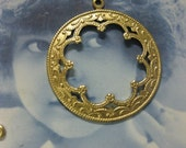 Raw Brass Scalloped Open Face Medallion Pendants 736RAW x2