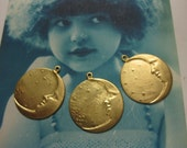 Celestial Brass  Moon and Star Charms pendants 135RAW x3