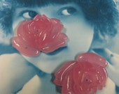 Vintage  Japanese Pink Glass Flower  Cabochons with Center Hole 901VINx2