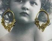 Clearance Closeout  Antique Brass Cast Flower Earring Hoops 754GOL x2