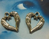 Antique Silver Plated Pewter Feather Wing Shaped Heart Charms 2078SIL x2