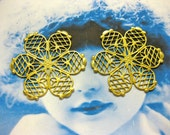Raw Brass Floral Filigree  2087RAW x4