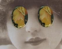 Vintage Renaissance Woman Porcelain 13x18 Cameo Cabochon 1067VIN X2