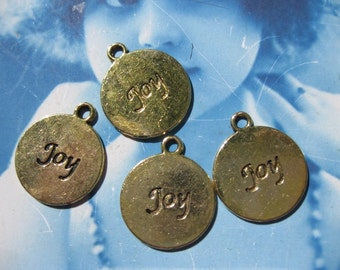 Clearance  Antique Gold Finish Cast Embossed JOY Charms 608GOL x4