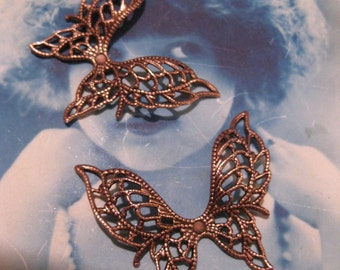 Copper Ox Plated Brass Filigree Butterflies 334COP x2