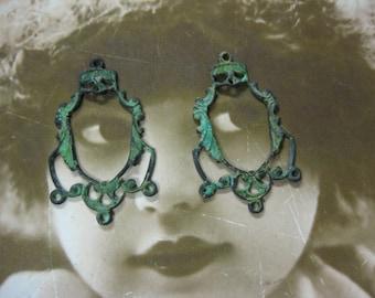 Verdigris Patina Filifree Earring Chandeliers 597VER x2