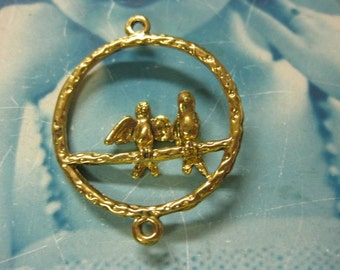 Last Chance Clearance Antique Brass  Plated Birds On A Perch Charms 705BRS x2