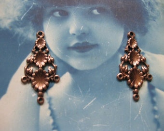 Copper Ox Plated Floral Earring Drops 497COP x2