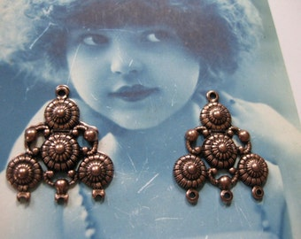 Copper Ox Plated Brass Filigree Earring Drops 6COP x2