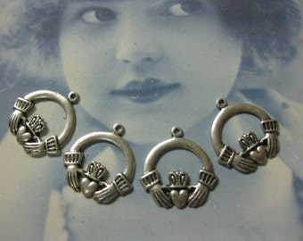 Sterling Silver Ox Plated  Irish Claddagh Charms743SOX x4