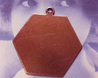 Copper Ox Plated Hexagon Shape Tags 133COP x2