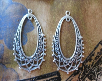 Silver Ox Plated Filigree Oval Hoops 473SOX x2