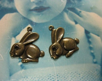 Brass Ox Plated Hopping Bunny Rabbit Charms 146BOX x2