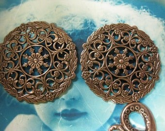 Copper Ox Plated Ornate Filigree Round Medallion 15COP x2