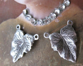 Sterling Silver Ox Plated Leaves with 2 Rings Jewelry Designs 61SOX x3