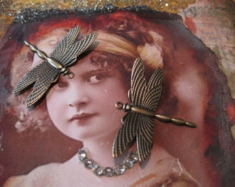 Brass Ox Plated Dragonfly Charms Jewelry Supplies 321BOX x2
