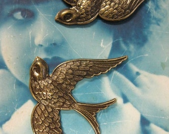 Brass Ox Plated Large Swallow Stampings 301BOX x2