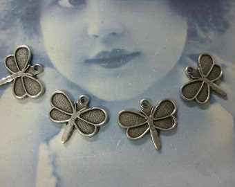 Silver Ox Plated Small Butterfly Dragonfly Charms  772SOX x4
