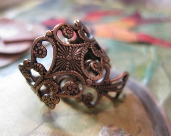 Copper Ox Plated Brass Filigree Adjustable Rings 499COP x2