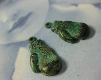 Verdigris Patina  Boxing Gloves Charms 742VER x4