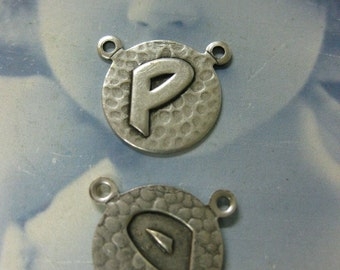 Silver Ox Plated  Art Deco Style Initial Charms Letter P 768 SOX x1