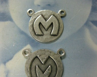 Silver Ox Plated  Art Deco Style Initial Charms Letter M 768 SOX x1