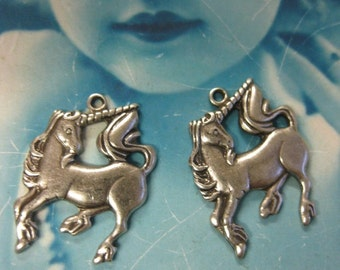 Silver Ox Plated Unicorn Charms 144SOX x2