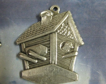 Silver Ox Plated Bird House Charms 655SOX X2