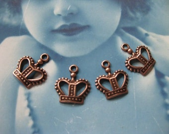 Sweet Copper Ox Filigree Crown Charms 383COP x6