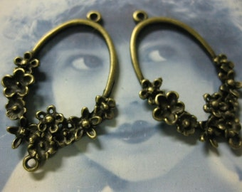 Clearance Closeout  Bronze Plated Cast Flower Earring Hoops 754BRZ x2